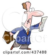 Royalty Free RF Clip Art Illustration Of A Cartoon Businessman Trying To Flag Down A Taxi by Ron Leishman