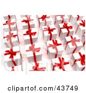 Clipart Illustration Of Rows Of White Christmas Presents With Red Bows And Ribbons