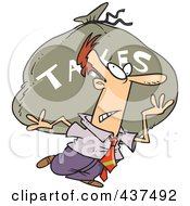 Cartoon Businessman Carrying A Huge Bag Of Money For Taxes