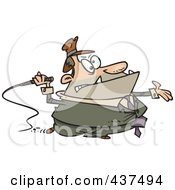 Royalty Free RF Clip Art Illustration Of A Cartoon Tax Grabber With A Whip by toonaday