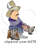Holy Sock Cowboy Putting Boots On Feet Clipart