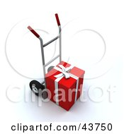Clipart Illustration Of A Red Christmas Gift Loaded On A Hand Truck