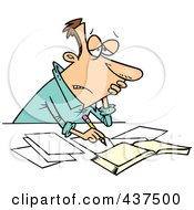Royalty Free RF Clip Art Illustration Of A Stressed Cartoon Businessman Doing His Taxes