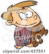 Royalty Free RF Clip Art Illustration Of A Happy Cartoon Boy Carrying His Teddy Bear