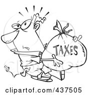Royalty Free RF Clip Art Illustration Of A Black And White Outline Design Of A Businessman Being Hit With Extra Taxes And Carrying A Money Bag