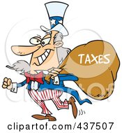 Royalty Free RF Clip Art Illustration Of Uncle Sam Grinning And Carrying A Money Bag Over His Shoulder by Ron Leishman