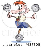 Royalty Free RF Clip Art Illustration Of A Cartoon Businessman Balancing Technology Gears by toonaday