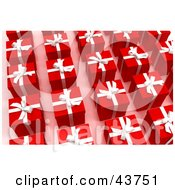 Clipart Illustration Of Rows Of Red Christmas Presents With White Bows And Ribbons