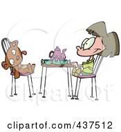 Cartoon Girl Having A Tea Party With Her Teddy Bear