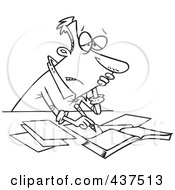 Royalty Free RF Clip Art Illustration Of A Black And White Outline Design Of A Stressed Businessman Doing His Taxes by toonaday