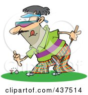 Royalty Free RF Clip Art Illustration Of A Man Putting A Golf Ball On A Tee by toonaday