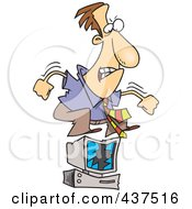Royalty Free RF Clip Art Illustration Of A Stressed Cartoon Businessman Jumping On His Computer
