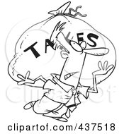 Royalty Free RF Clip Art Illustration Of A Black And White Outline Design Of A Businessman Carrying A Huge Bag Of Money For Taxes