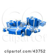 Clipart Illustration Of A Group Of Various Sized Gift Boxes Wrapped In Blue