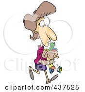 Royalty Free RF Clip Art Illustration Of A Cartoon Woman Carrying A Ripping Grocery Bag