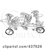 Black And White Outline Design Of A Lazy Man Relaxing On A Tandem Bike While His Partners Cycle
