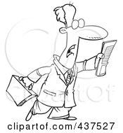 Royalty Free RF Clip Art Illustration Of A Black And White Outline Design Of A Businessman Trying To Flag Down A Taxi by toonaday