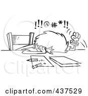 Royalty Free RF Clip Art Illustration Of A Black And White Outline Design Of A Cursing Woman Trying To Prepare Her Taxes by toonaday