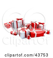 Clipart Illustration Of A Group Of Various Sized Gift Boxes Wrapped In Red And White