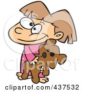 Royalty Free RF Clip Art Illustration Of A Happy Cartoon Girl Carrying Her Teddy Bear
