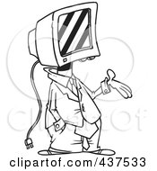 Royalty Free RF Clip Art Illustration Of A Black And White Outline Design Of A Businessman With A Computer Head