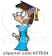 Royalty Free RF Clip Art Illustration Of A Cartoon Teen Girl Graduate by toonaday