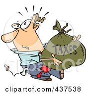 Royalty Free RF Clip Art Illustration Of A Cartoon Businessman Being Hit With Extra Taxes And Carrying A Money Bag by toonaday
