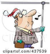 Royalty Free RF Clip Art Illustration Of A Commuting Businessman Whistling And Wearing A Santa Hat