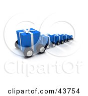 Clipart Illustration Of A Line Of Blue Christmas Presents On Wheels
