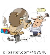Royalty Free RF Clip Art Illustration Of A Cartoon Tamer Having An Uh Oh Moment As The Lion Turns On Him by toonaday