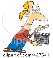 Royalty Free RF Clip Art Illustration Of A Cartoon Man Presenting Take 2 With A Clapper