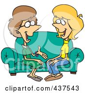 Two Talkative Cartoon Women Sitting On A Sofa