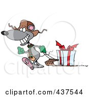 Royalty Free RF Clip Art Illustration Of A Black And White Outline Design Of A Mouse Pulling A Christmas Gift On A Sled by toonaday