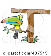 Royalty Free RF Clip Art Illustration Of A Toucan Perched On A T Shaped Tree
