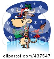 Royalty Free RF Clip Art Illustration Of A Christmas Cow In The Snow by toonaday