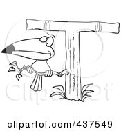 Royalty Free RF Clip Art Illustration Of A Black And White Outline Design Of A Toucan Perched On A T Shaped Tree