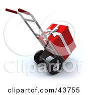 Clipart Illustration Of A Red Christmas Present Loaded On A Hand Truck