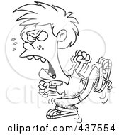 Royalty Free RF Clip Art Illustration Of A Black And White Outline Design Of A Boy Throwing A Temper Tantrum