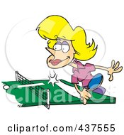 Royalty Free RF Clip Art Illustration Of A Blond Cartoon Woman Playing Table Tennis by toonaday