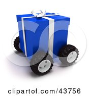 Clipart Illustration Of A Blue Christmas Present Moving On Wheels by Frank Boston