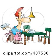 Royalty Free RF Clip Art Illustration Of A Happy Stay At Home Dad Setting The Dinner Table