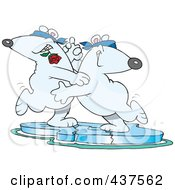 Royalty Free RF Clip Art Illustration Of A Cartoon Romantic Polar Bear Couple Dancing The Tango On Ice by toonaday