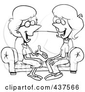 Royalty Free RF Clip Art Illustration Of A Black And White Outline Design Of Two Talkative Women Sitting On A Sofa
