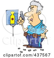 Royalty Free RF Clip Art Illustration Of A Cartoon Police Officer In Training Shooting At Close Range And Missing His Target by toonaday