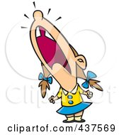 Cartoon Crying Girl Throwing A Temper Tantrum