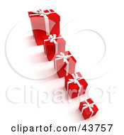 Clipart Illustration Of A Row Of Red Gift Boxes With The Smallest In The Front And Biggest In The Back