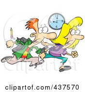 Royalty Free RF Clip Art Illustration Of A Tardy Cartoon School Boy And Girl Racing To Class