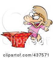 Royalty Free RF Clip Art Illustration Of A Happy Girl Opening A Christmas Gift