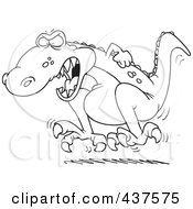 Royalty Free RF Clip Art Illustration Of A Black And White Outline Design Of A Tyrannosaurus Rex Throwing A Temper Tantrum by toonaday