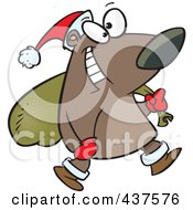 Royalty Free RF Clip Art Illustration Of A Santa Bear Carrying A Sack